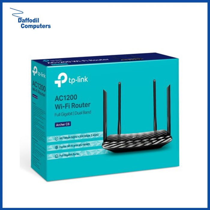 TP-Link Archer C6 AC1200 Dual Band Wireless MU-MIMO Gigabit Router